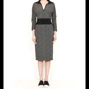 Yeohlee V-Neck Fitted Dress with Contrast Waist.